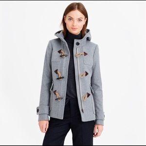 J.CREW grey wool melton classic duffle jacket XS/0